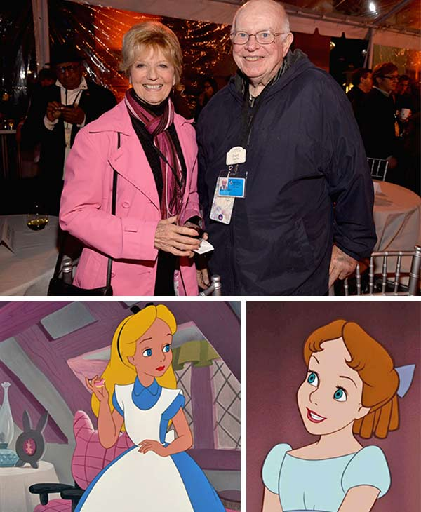 L-R: Kathryn Beaumont, voice of Alice in Disney's 1951 animated movie 'Alice in Wonderland' and archivist Dave Smith attend the 90 Years of Disney Animation celebration at Walt Disney Studios in Burbank, California on Dec. 10, 2013.