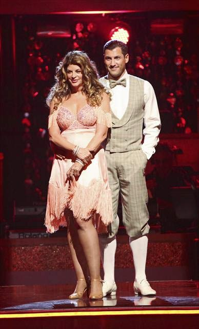 Actress Kirstie Alley and her partner Maksim Chmerkovskiy await their fate on 'Dancing With The Stars: The Results Show' on October 16, 2012.