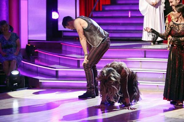 Actress Kirstie Alley and her partner Maksim Chmerkovskiy react to being safe from elimination on 'Dancing With The Stars: The Results Show' on Tuesday, Oct. 9, 2012.