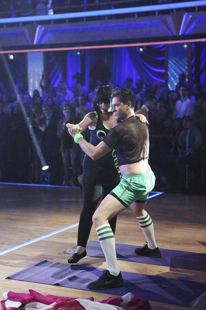 Kirstie Alley and Maksim Chmerkovskiy appear in a photo from their group Freestyle group dance on October 23, 2012. The group received 27 out of 30 points from the judges for their Freestyle dance. <span class=meta>(ABC Photo)</span>