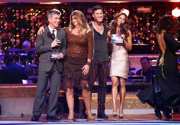 Actress Kirstie Alley and her partner Maksim Chmerkovskiy react to being safe from elimination on &#39;Dancing With The Stars: The Results Show&#39; on Tuesday, Oct. 9, 2012.  The pair received 24 out of 30 points from the judges for their Cha Cha Cha on &#39;Dancing With The Stars: All-Stars,&#39; which aired on October 8, 2012. <span class=meta>(ABC Photo)</span>