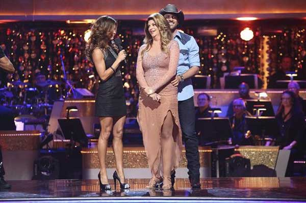 Kirstie Alley and her partner Maksim Chmerkovskiy await their fate on &#39;Dancing With The Stars: The Results Show&#39; on October 30, 2012. The two received 27.5 out of 30 points from the judges for their Rumba on &#39;Dancing With The Stars: All-Stars,&#39; which aired on October 29, 2012. <span class=meta>(ABC Photo)</span>