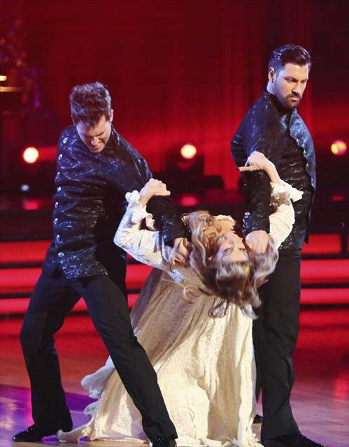 Actress Kirstie Alley and her dance partners Maksim Chmerkovskiy and Tristan MacManus received 28 out of 30 points from the judges 