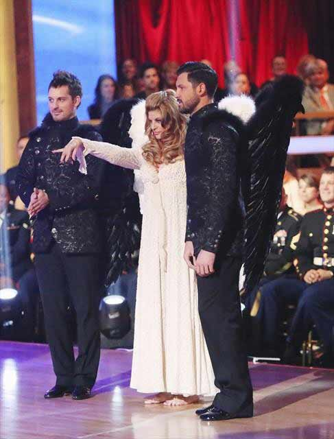 "<div class=""meta ""><span class=""caption-text "">Actress Kirstie Alley and her dance partners Maksim Chmerkovskiy and Tristan MacManus received 28 out of 30 points from the judges  for their Paso Doble on 'Dancing With The Stars: All-Stars,' which aired on November 12, 2012. (ABC / OTRC)</span></div>"