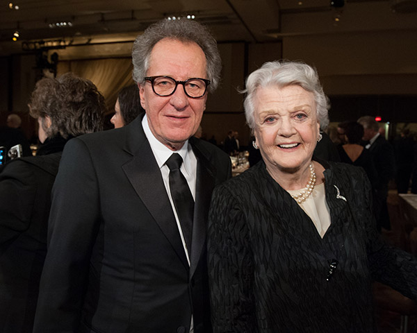 Honorary Award recipient Angela Lansbury appears with &#39;Pirates of the Caribbean&#39; actor Geoffrey Rush at the 2013 Governors Awards at The Ray Dolby Ballroom in Hollywood, California on Saturday, Nov. 16, 2013. <span class=meta>(Michael Yada &#47; A.M.P.A.S.)</span>