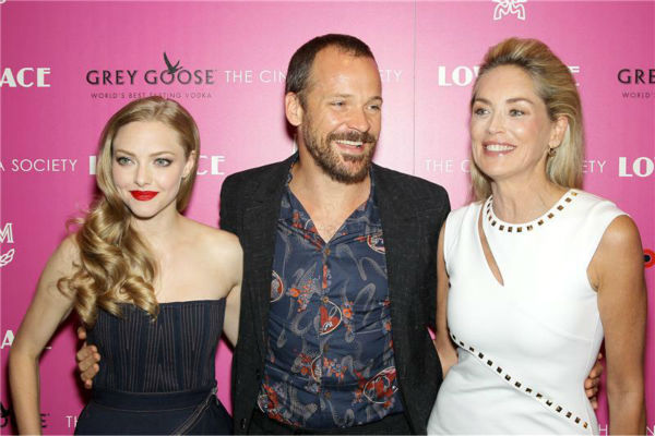 L-R: Amanda Seyfried, Peter Sarsgaard and Sharon Stone attend a screening of &#39;Lovelace,&#39; hosted by the Cinema Society and MCM with Grey Goose, at the Metropolitan Museum of Art &#40;MoMa&#41; in New York on July 30, 2013. <span class=meta>(Marion Curtis &#47; Startraksphoto.com)</span>