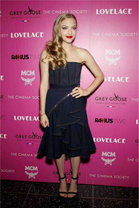Amanda Seyfried attends a screening of 'Lovelace,' hosted by the Cinema Society and MCM with Grey Goose, at the Metropolitan Museum of Art (MoMa) in New York on July 30, 2013.