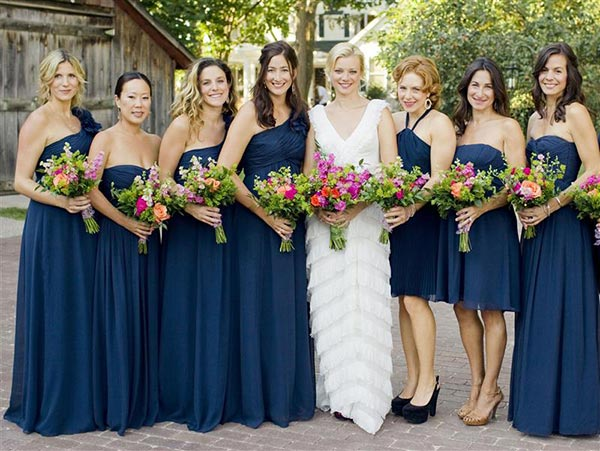 Amy Smart appears at her wedding to Carter Oosterhouse with her bridesmaids on Sept. 10, 2011.