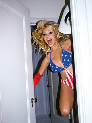 Pamela Anderson Tweeted> this photo of herself in a patriotic bikini on Nov. 22, 2012, saying: 'Happy Thanksgiving!!!'