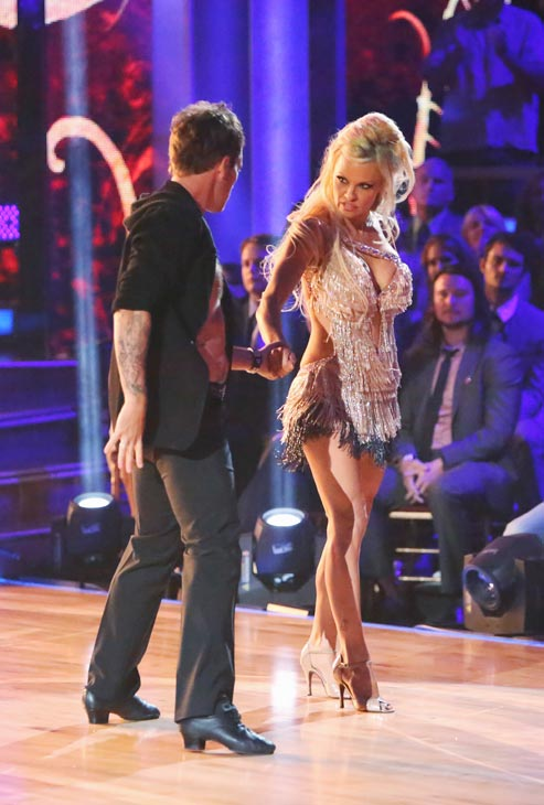 "<div class=""meta ""><span class=""caption-text "">Former Playboy Playmate and 'Batwatch' alum Pamela Anderson and her partner Tristan MacManus received 17 out of 30 points from the judges for their Cha Cha Cha on the season premiere of 'Dancing With The Stars: All-Stars,' which aired on September 24, 2012. (ABC / Adam Taylor)</span></div>"