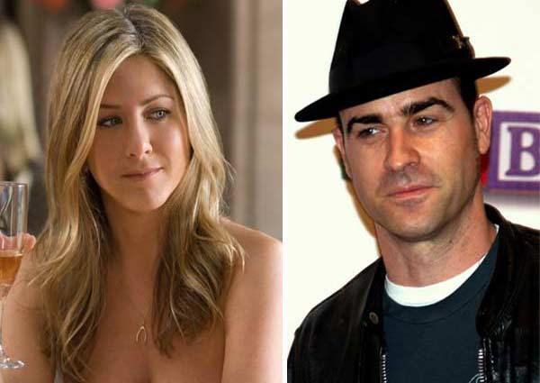 Jennifer Aniston appears in a photo from the 2009 film 'He's Just Not That Into You.' / Justin Theroux appears in a photo from the premier of the 2008 film 'Baby Mama' in May 2009.