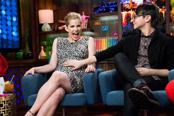 Anna Chlumsky of 'My Girl' and 'Veep' fame appears with Christian Siriano on the Bravo talk show 'Watch What Happens Live' on March 27, 2013. Chlumsky announced that day that she is pregnant with her and husband Shaun So's first child.