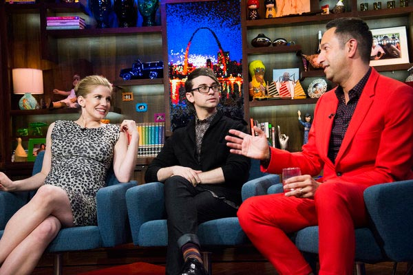 Anna Chlumsky of 'My Girl' and 'Veep' fame appears with Christian Siriano and Christos Garkinos on Andy Cohen's Bravo talk show 'Watch What Happens Live' on March 27, 2013.