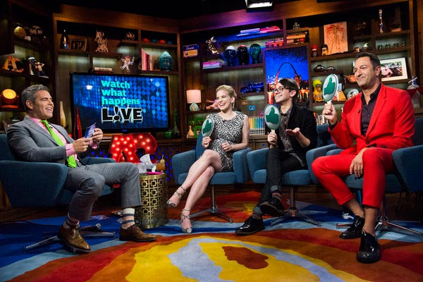 "<div class=""meta image-caption""><div class=""origin-logo origin-image ""><span></span></div><span class=""caption-text"">Anna Chlumsky of 'My Girl' and 'Veep' fame appears with Christian Siriano and Christos Garkinos on the Bravo talk show 'Watch What Happens Live' on March 27, 2013. Host Andy Cohen is pictured on the left. Chlumsky announced that day that she is pregnant with her and husband Shaun So's first child. (Charles Sykes / Bravo)</span></div>"