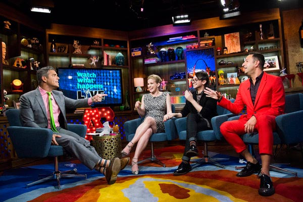 Anna Chlumsky of &#39;My Girl&#39; and &#39;Veep&#39; fame appears with Christian Siriano and Christos Garkinos on the Bravo talk show &#39;Watch What Happens Live&#39; on March 27, 2013. Host Andy Cohen is pictured on the left. Chlumsky announced that day that she is pregnant with her and husband Shaun So&#39;s first child. <span class=meta>(Charles Sykes &#47; Bravo)</span>