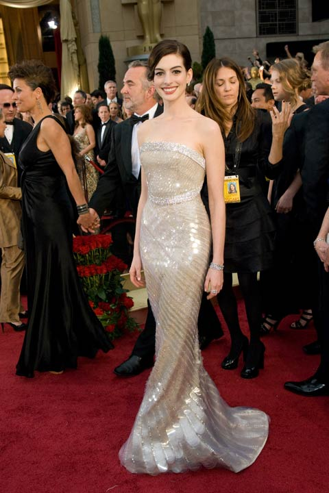 Anne Hathaway attends the 81st Annual Academy Awards at the Kodak Theatre in Hollywood, Calif. on Sunday, Feb. 22, 2009. The actress sparkled in a white Armani Prive gown that featured sequins and beading. The &#39;Rachel Getting Married&#39; actress opted for simple accessories and a sleek up-do. The 2013 Oscar ceremony is scheduled to air February 24 on ABC.  <span class=meta>(Armando Flores &#47; A.M.P.A.S.)</span>