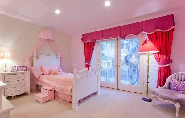 A bedroom inside the Hollywood Hills home of late actress Anna Nicole Smith. The 5-bedroom house was listed for sale for $1.75 million in late July 2011.