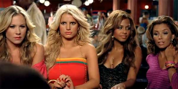 From left, Christina Applegate, Jessica Simpson, Christina Milian and Eva Longoria appear in a scene from the 2006 music video 'Public Affair.'