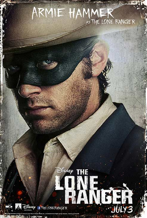 Armi Hammer appears in an official poster for Walt Disney's 2013 movie 'The Lone Ranger.'