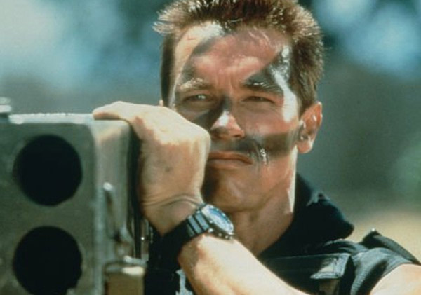 Arnold Schwarzenegger appears in a scene from the 1985 film 'Commando.'