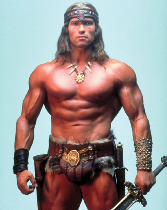 Arnold Schwarzenegger appears in a still from the 1982 film 'Conan the Barbarian.'