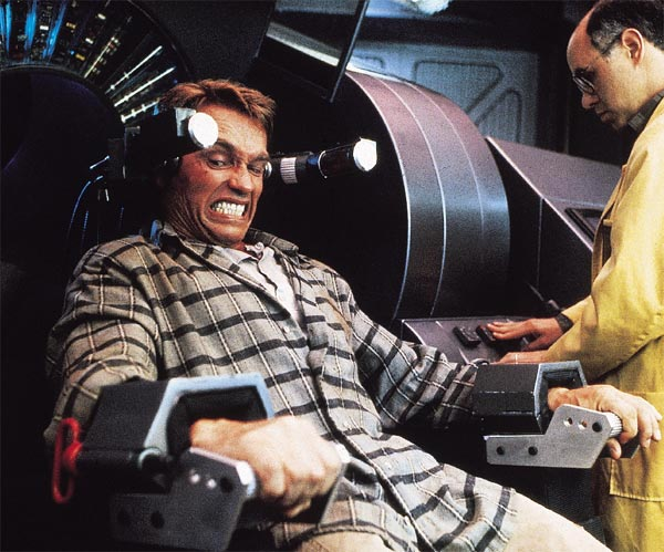 Arnold Schwarzenegger appears in a scene from the 1990 film 'Total Recall.'
