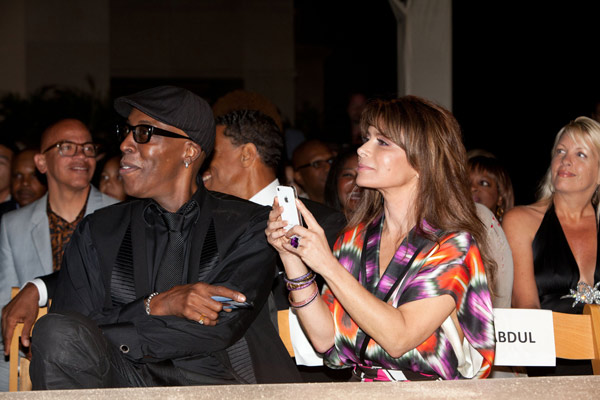 Comedian Arsenio Hall and former 'American Idol' judge Paula Abdul attend the HollyRod Foundation's 14th Annual Design Care on July 21, 2012 in Malibu, California.
