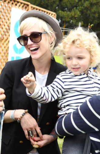 Ashlee Simpson and her son Bronx appear at the...