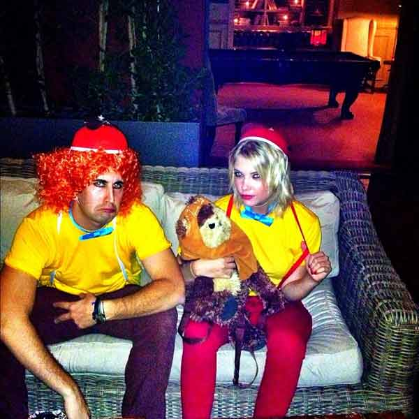 Ashley Benson appears in a photo dressed as Tweedle Dee and Tweedle Dumb from her official Twitter page on October 27, 2012.