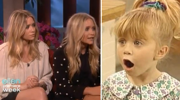 Ashley Olsen appears to the right of her sister, Mary-Kate Olsen, during an interview on 'The Ellen DeGeneres Show' in 2010. / Ashley Olsen appears as Michelle Tanner in a scene from the television show, 'Full House.'