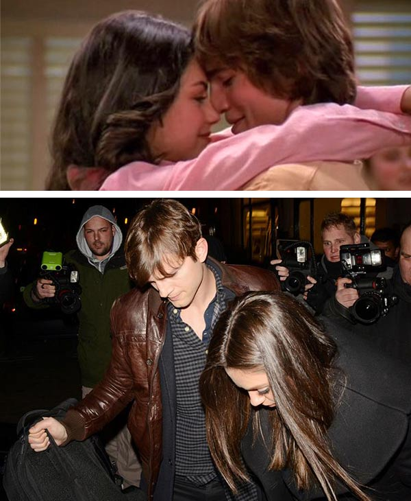 Mila Kunis and Ashton Kutcher appear as Jackie and Kelso in a scene from 'That '70s Show.' / Mila Kunis and Ashton Kutcher leave Scott's Restaurant in London on March 14, 2013.