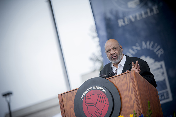 James Avery &#40;&#39;Fresh Prince of Bel-Air&#39;s Uncle Phil&#41;, who died on Dec. 31, 2013, gives a speech to 2012 UC San Diego graduates at the university&#39;s Thurgood Marshall College&#39;s commencement ceremony on June 16, 2012. <span class=meta>(Erik Jepsen &#47; UC San Diego Publications)</span>
