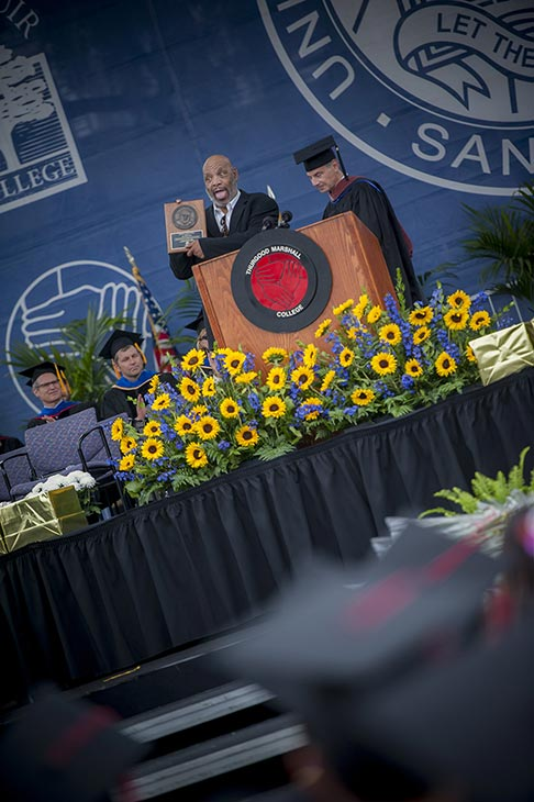 James Avery &#40;&#39;Fresh Prince of Bel-Air&#39;s Uncle Phil&#41;, who died on Dec. 31, 2013, received the Marshall College Medal after giving a speech to 2012 UC San Diego graduates at the university&#39;s Thurgood Marshall College&#39;s commencement ceremony on June 16, 2012. <span class=meta>(Erik Jepsen &#47; UC San Diego Publications)</span>