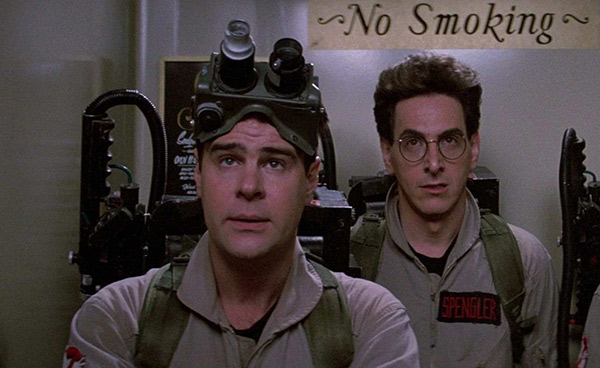 Dan Aykroyd and Harold Ramis appear in a scene from the 1984 film 'Ghostbusters.'