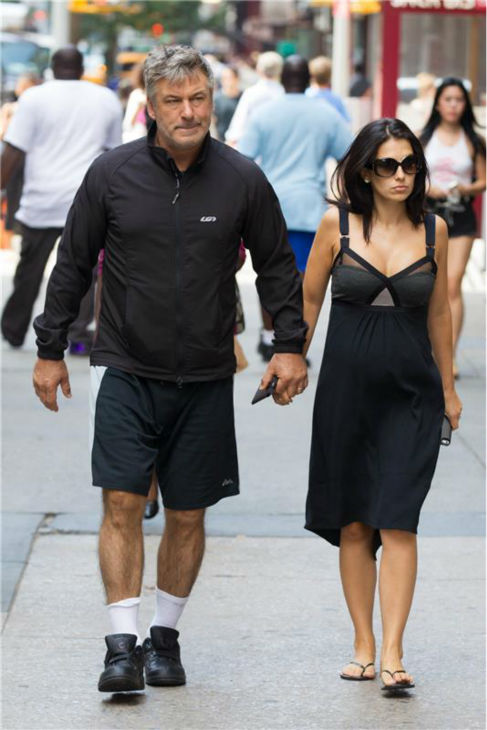 Alec Baldwin and wife Hilaria walk in New York City on Aug. 27, 2013. That day, the actor and a member of the paparazzi got into an altercation. No arrests were made and no charges were filed. The couple, who are often followed by the paparazzi, had welcomed their first child together, a daughter named Carmen, four days prior. <span class=meta>(Freddie Baez &#47; startraksphoto.com)</span>