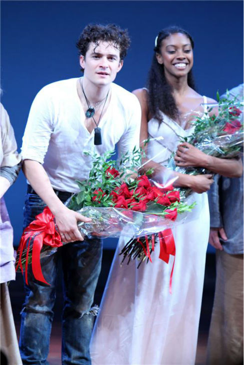 "<div class=""meta ""><span class=""caption-text "">Orlando Bloom appears with co-star Condola Rashad on stage at the opening night of the play 'Romeo and Juliet,' which marks the actor's Broadway debut, in New York on Sept. 19, 2013. (Dave Allocca / Startraksphoto.com)</span></div>"