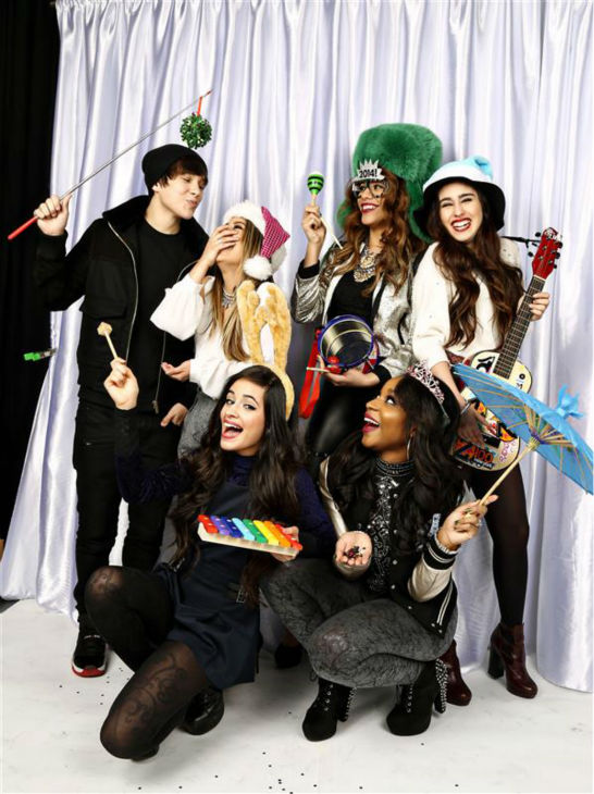 The members of the girl group Fifth Harmony and pop singer Austin Mahone &#40;left&#41; pose in a holiday-themed photo booth at Z100&#39;s Jingle Ball 2013 on Dec. 13, 2013, just before Christmas. <span class=meta>(Sara Jaye Weiss  &#47; Startraksphoto.com)</span>