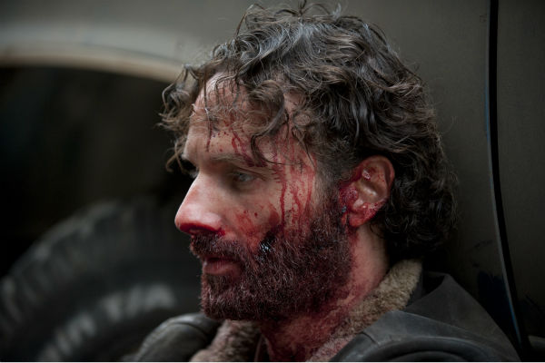 A bloody Rick Grimes &#40;Andrew Lincoln&#41; catches his breath after killing Joe in an unconventional way, in this scene from AMC&#39;s &#39;The Walking Dead&#39; season 4 finale, which aired on March 30, 2014. <span class=meta>(Gene Page &#47; AMC)</span>