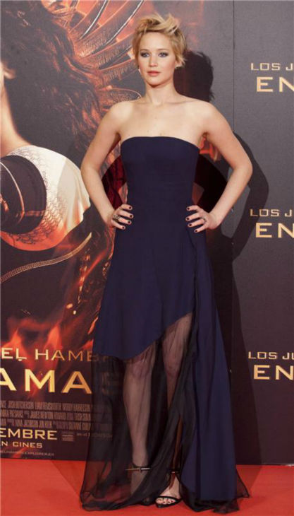 Jennifer Lawrence appears at the premiere of 'The Hunger Games: Catching Fire' in Madrid, Spain on Nov. 13, 2013.