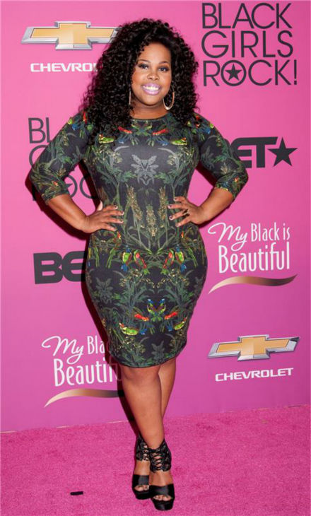Amber Riley, a 'Glee' star and current competitor on ABC's 'Dancing With The Stars,' appears at BET's 2013 Black Girls Rock event in New York on Oct. 26, 2013.