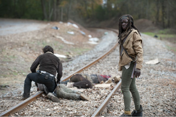 Rick Grimes &#40;Andrew Lincoln&#41; and Michonne &#40;Danai Gurira&#41; appear in a scene from AMC&#39;s &#39;The Walking Dead&#39; season 4 finale, which aired on March 30, 2014. <span class=meta>(Gene Page &#47; AMC)</span>