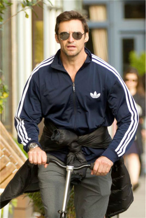 Hugh Jackman rides a scooter in New York City on Oct. 29, 2013. <span class=meta>(Freddie Baez &#47; Startraksphoto.com)</span>