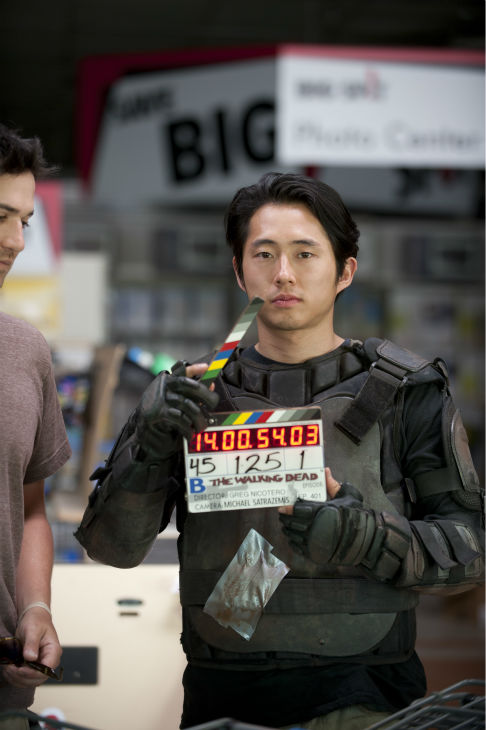 "<div class=""meta ""><span class=""caption-text "">Steven Yeun (Glenn) appears on the set of AMC's 'The Walking Dead' while filming episode 1 of season 4, titled '30 Days Without an Accident,' which aired on Oct. 13, 2013. (Gene Page / AMC)</span></div>"