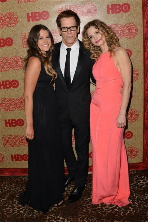 "<div class=""meta ""><span class=""caption-text "">L-R: Kyra Sedgwick appears at HBO's 2014 Golden Globe Awards after party at the Circa 55 restaurant in Beverly Hills, California on Jan. 12, 2014 with with husband and fellow actor Kevin Bacon and daughter Sosie Bacon, who is Miss Golden Globe 2014. (Tony DiMaio / Startraksphoto.com)</span></div>"