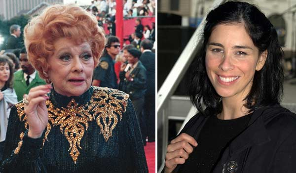 Lucille Ball appears in a photo from the 61st Annual Academy Awards in 1989. / Sarah Silverman appears in a photo from the Brooklyn Book Festival on Sept. 12, 2010.