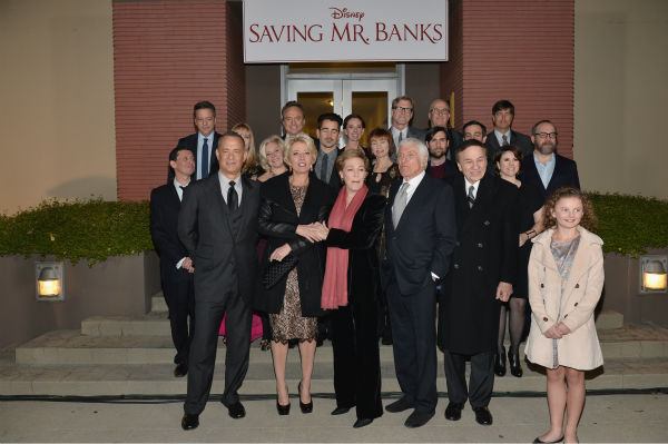 Tom Hanks, Emma Thompson, Julie Andrews, Dick Van Dyke, music consultant/composer Richard Sherman, Annie Rose Buckley appear at the premiere of 'Saving Mr. Banks' at the Walt Disney Studios in Burbank, California on Dec. 9, 2013.