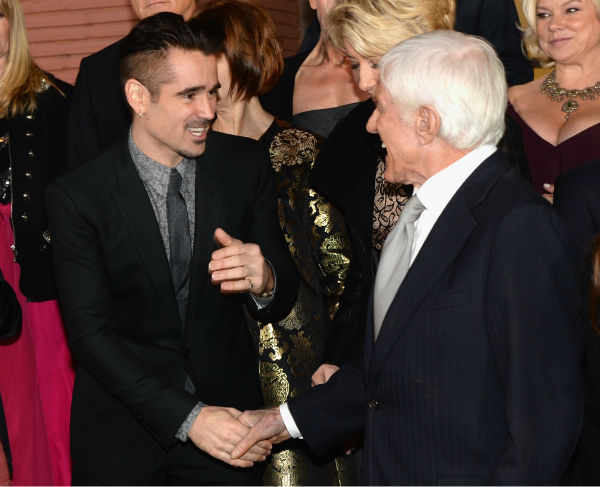 'Mary Poppins' star Dick Van Dyke, who turns 88 on Dec. 13, 2013, and Colin Farrell, 37, appear at the premiere of 'Saving Mr. Banks' on Dec. 9, 2013.