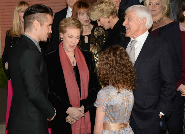 Colin Farrell, 37, 'Mary Poppins' stars Julie Andrews, 78, and Dick Van Dyke, 87, and actress Annie Rose Buckley attend the premiere of 'Saving Mr. Banks' on Dec. 9, 2013.