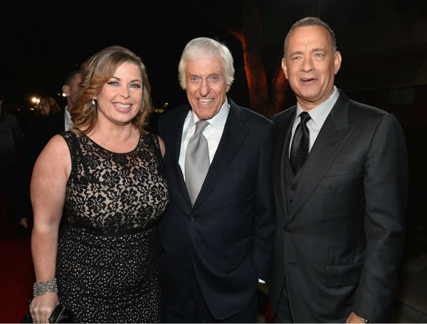 Dick Van Dyke, who played Bert in Disney's 1964 musical film 'Mary Poppins,' wife Arlene Silver and Tom Hanks, 57, attend the premiere of 'Saving Mr. Banks' at the Walt Disney Studios in Burbank, California on Dec. 9, 2013.