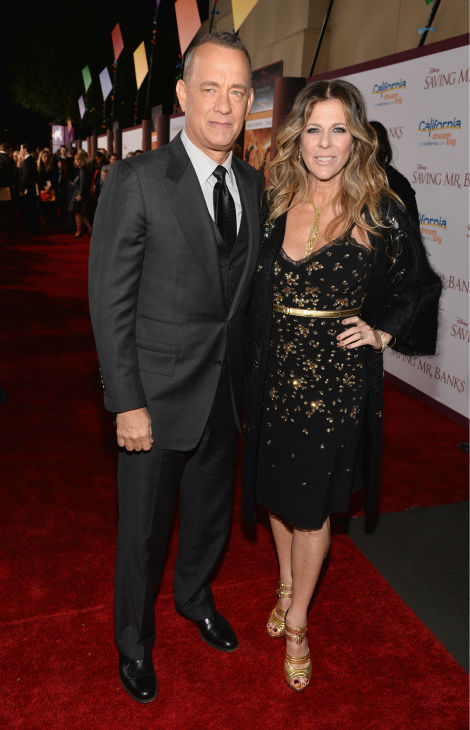 Tom Hanks, 57, and wife Rita Wilson, 57, attend the premiere of 'Saving Mr. Banks' at the Walt Disney Studios in Burbank, California on Dec. 9, 2013.
